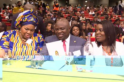 Lagos State Governor, Mr. Akinwunmi Ambode (middle); Fellow, Department of Management, LSE, Dr. Vanessa Iwowo (left) and Co-Director, Business Conference, LSE Africa Summit, Eki Izevbigie(right) during the 3rd Annual London School of Economics (LSE) Africa Summit in the United Kingdom, on Saturday, April 23, 2016.