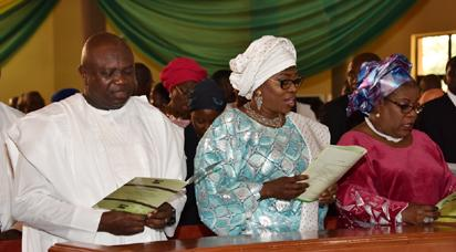 L-R: Lagos State Governor, Mr. Akinwunmi Ambode, with his Wife, Bolanle and Chief Judge of Lagos State, Justice Olufunmilayo Atilade during a Thanksgiving Service in Commemoration of Governor Akinwunmi Ambode's First Year in Office at the Chapel of Christ The Light, Alausa, Ikeja, Lagos, on Sunday, May 29, 2016.
