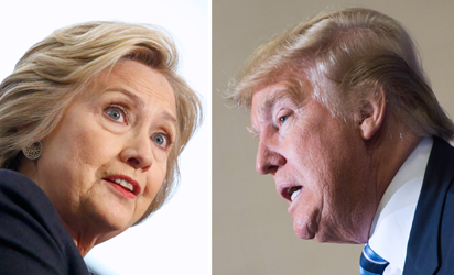 This file photo combination shows Democratic presidential candidate Hillary Clinton(L) on April 4, 2016 and Republican challenger Donald Trump on February 16, 2016. November's US presidential election is taking shape: Republican billionaire Donald Trump and Democratic power player Hillary Clinton look set for an ugly battle for the White House after a bruising primary season. Trump knocked out his only serious challenger Ted Cruz on May 3, 2016 in Indiana's key primary, winning 53 percent of the vote against 37 percent for the Texas senator, who raised the white flag and surprisingly pulled out of the race. / AFP PHOTO