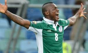 •BACK WITH A BANG! Super Eagles forward, Brown Ideye celebrates after scoring in a previous outing for Nigeria. He scored Nigeria's opening goal against Luxembourg yesterday. Nigeria won 3-1.