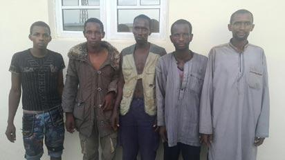 SUSPECTED HERDSMEN / KILLERS ON PARADE: From left: Mohammed Zurai, Ciroma Musa, Sale Adamu, Suleiman Laute, and Haruna Laute, all suspected herdsmen who attacked Nimbo community in Uzo-Uwani Local Government Area of Enugu State on April 25, 2016 as paraded by the Police, in Abuja, yesterday.
