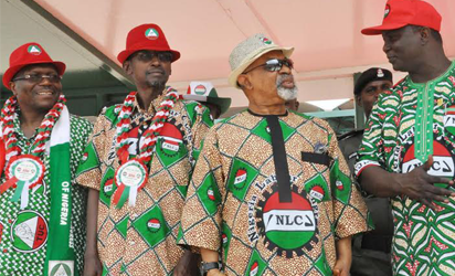 FILE: MAY DAY —From left: President, Trade Union Congress, Comrade Bobboi Kaigama; Minister of Federal Capital Territory, Alhaji Mohammed Bello; Minister of Labour and Employment, Sen. Chris Ngige and factional President, Nigeria Labour Congress, Comrade Ayuba Wabba, during the May Day Celebration in Abuja,yesterday. Photo: NAN.