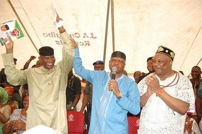 •From left to right: Senator Omo-Agege, Olorogun O'Tega Emerhor and Chief Great Ogboru at a reception in honour of Omo-Agege.