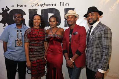 Femi Odugbemi, Wangi Mba-Uzokwu, Nancy Isime,Gideon Okeke and Banky W at the premiere of Gidi Blues