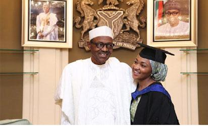 Buhari and daughter, Zahra when he celebrates her on her graduation