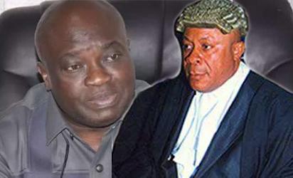 Justice Okon Abang and Governor Okezie Ikpeazu of Abia State