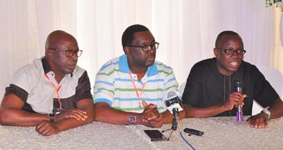 Lagos State Commissioner for Information & Strategy, Mr. Steve Ayorinde (middle); Commissioner for Economic Planning & Budget, Mr. Akinyemi Ashade (right) and Permanent Secretary, Ministry of Information & Strategy, Mr. Fola Adeyemi, jointly addressing journalists during the closing of State Executive Council and Body of Permanent Secretaries Retreat, with the theme Reflect, Reappraise, Restrategise…Raising the Bar of Governance at the V.I.P Chalet, Badagry, Lagos on Sunday, July 24, 2016.
