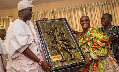 Ooni Ogunwusi in a courtesy call on President John Mahama in Accra during a visit to Ghana