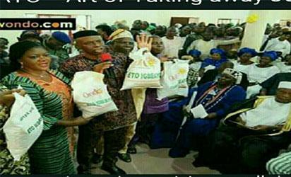 •Pix of governor Olusegun Mimiko, wife Olukemi and deputy governor Alhaji Lasisi Oluboyo during the flag off of the Eto