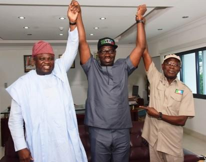Governor Akinwunmi Ambode of Lagos and Chairman, National Campaign Council of the All Progressives Congress (left); Mr. Godwin Obaseki, APC Gubernatorial candidate in Edo State and Governor Adams Oshiomhole during Governor Ambode's visit to Edo State, Tuesday.