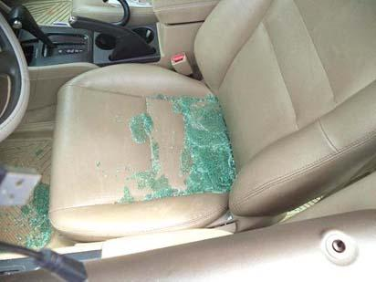 •Interior of the vandalized car