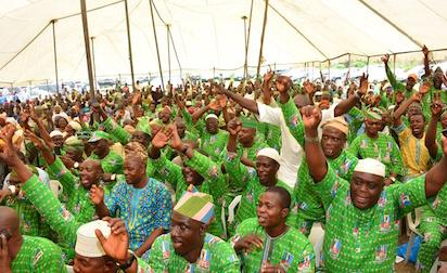 Cross section of party faithful during a meeting with APC Leaders at the Party Secretariat, Acme Road, Ogba, Lagos on Friday