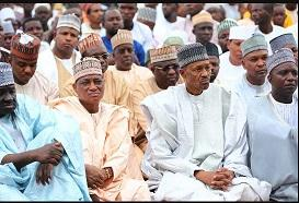 Buhari observing the Eid el-Fitr prayer at the Mambilla Barrack, Abuja