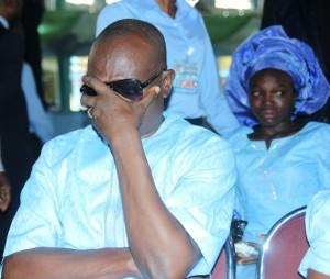 Pastor Elijah Olawale (husband) in tears of agony at the Burial Service, on Saturday.