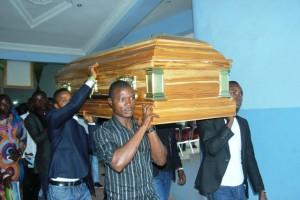 The remains of late Eunice Olawale during the Burial Service on Saturday.