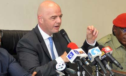 Press Conference: FIFA President, Mr. Gianni Infantino at a Press Conference held at National Stadium Abuja during Infantino visit to Abuja Nigeria. Photo by Gbemiga Olamikan.