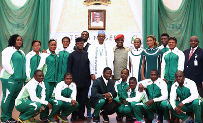 President Buhari with L-R: Vice President Yemi Osinbajo, Minister of Sports and Youth Development Solomon Dalung and FCT Minister Mohammed Bello as President Buhari participates at the Formal Handing over of RIO 2016 Olympic Games delegation and Traditional Investiture of President Buhari as Grand Patron of the Nigeria Olympic Committee in Statehouse on 19th July 2016
