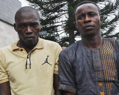 Toba Foreje (left) and Isaiah Ofodomu, suspected kidnappers of Oba Goriola Oseni, Oniba of Iba-land in Iba Local Council Development Area[LCDA] paraded by Lagos state Governor and Commissioner of Police at Lagos House, Ikeja, yesterday. Photo: Bunmi Azeez