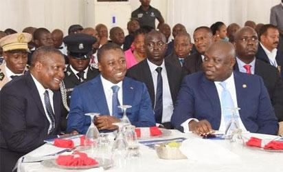 R-L: Lagos State Governor, Akinwunmi Ambode, with President of Togo, Mr. Faure Gnassingbe and President, Dangote Group, Alhaji Aliko Dangote during the visit of the Togolese President to the Dangote Refinery at the Lekki Free Trade Zone, Lekki, Lagos