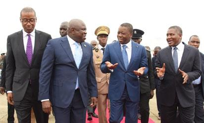 L-R: Lagos State Governor, Akinwunmi Ambode (2nd left), with Minister of Trade, Investment & Industry, Mr. Okechukwu Enelamah; President of Togo, Mr. Faure Gnassingbe and President, Dangote Group, Alhaji Aliko Dangote during the visit of the Togolese President to the Dangote Refinery at the Lekki Free Trade Zone, Lekki, Lagos