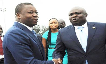 Lagos State Governor, Akinwunmi Ambode (right), welcoming President of Togo, Mr. Faure Gnassingbe (left) during the arrival of the Togolese President at the Muritala Muhammed International Airport, Ikeja, Lagos