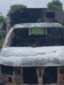 """The suspected gun runners and armed bandits also burnt down four operational vehicles of the Nigerian army and vandalized two others."