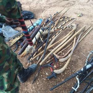 Troops recovered items such as three AK-47 rifles,10 Local AK-47 rifles, 9 locally made pistols, six revolver guns, which fires 7.62mm (special ammunition), 45 loaded dane guns, 10 clubs and cudgels, 41 arrows, 18 bow cases, 122 cutlasses and machetes as well as 20 daggers.