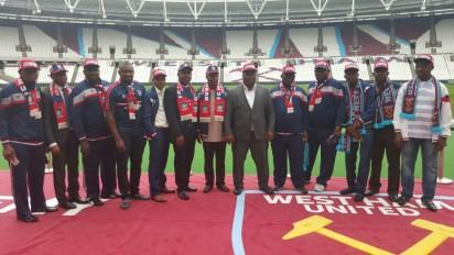 Proprietor, FC Ifeanyi Ubah, Dr. Patrick Ifeanyi Ubah (6th from right) and representatives of Capital Oil & Gas; FC Ifeanyi Ubah during the signing of the deal with West Ham United on Friday, August 19, 2016, in London