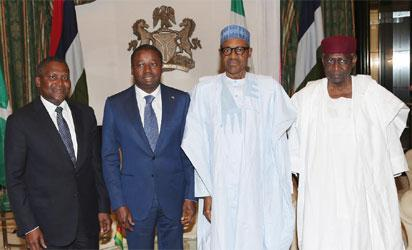 L-R; President Dangote Group of Company, Alhaji Aliko Dangote, Togolese President, Mr Faure Gnassingbe,  President Muhammadu Buhari and Chief of Staff to the President Mallam Abba Kyari during a courtesy visit at the State House in Abuja
