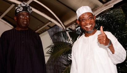 Governor State of Osun, Ogbeni Rauf Aregbesola and the National Leader, All Progressives Congress APC, Asiwaju Bola Ahmed Tinubu, rejoicing on the emergence of Rotimi Akeredolu as Ondo State's APC Governorship candidate in Lagos on Monday 5/9/2016.