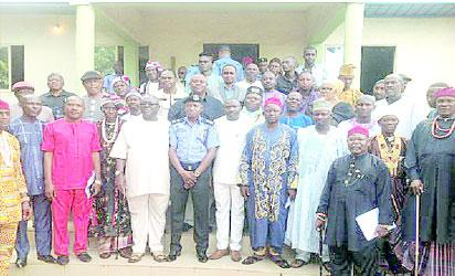 Abia State Commissioner for Police, Mr. Leye Oyabade, hosted an enlarged Stakeholders Forum meeting on Conflict Resolution between herdsmen and host communities in the State. Pic shows CP Oyebade with some stakeholders, including Ukpai Agwu Ukpai, the Deputy Chief of Staff, Governor's Officer, traditional rulers and Hausa/Fulani leaders.