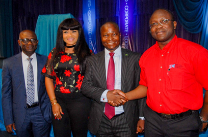 L-R; South West Coordinator NEPC, Mr Babatunde Faleke, Nollywood Actress Mercy Aigbe, Regional Head, Bank Of Industry, Mr Obaro Osah and President/MD Simplified Corporate Logistics, Mr Nduka Udeh at the official launch of Simplified Corporate Logistics which held on September 8th 2016 at Muson Centre
