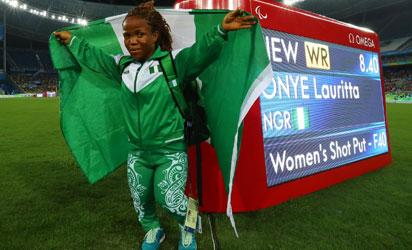 GOLDEN MOMENT: Onye Lauritta jubilates after winning gold with a new world record in the women's shot put F40.