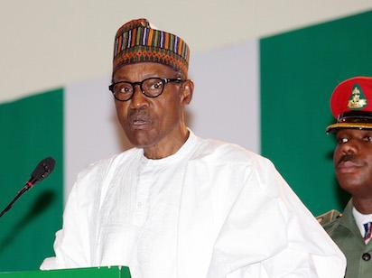 """President Buhari addressing the guests during the launch of the National Re-Orientation Campaign """"Change Begins with Me"""" at the State House Conference Centre (SHCC) in Abuja."""