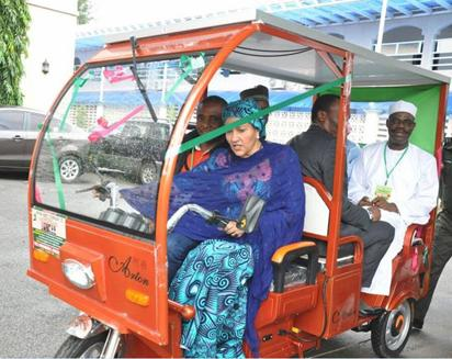 •Minister of Environment, Amina J. Mohammed, driving the solar-powered tricycle alongside the Minister of State for Environment, Ibrahim Usman Jibril, Minister for Niger-Delta and Permanent Secretary, Ministry of Environment, Dr Bukar Hassan at the recently held 10th National Council on Environment in Lafia, Nasarawa State. Seated beside Mohammed is Arthur Okeyika.