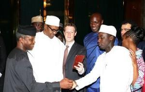 Facebook Founder, Mark Zuckerberg visits President Muhammadu Buhari in Aso Villa on Friday, September 2, 2016.