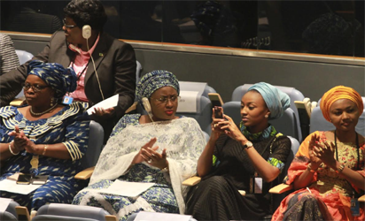 The first Lady, Hajia Aisha Buhari and his deligation applauding  President Muhammadu Buhari as he was addressing the 71st UN General Assembly at the UN Headquarters, New York. Photo by Abayomi Adeshida 20/09/2016