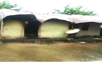 Another house allegedly burnt by soldiers at Odiemerenyi, in Ahoada East LGA.