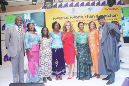 "From Left: Prof Oladapo, Presidient African Fertility Society; Victoria Kuba (Beneficiary); Helen Philip (Beneficiary); Dr Rasha Kelej, Chief Social Officer, Merck Healthcare; Chinelo Azodo (Beneficiary); Hon Joyce Lay, Member of the Parliament, Kenya and Senator Lanre Tejuoso, Chairman Senate Committee on Health Nigeria, during the ""Merck More than a Mother"" launch in Nigeria, at the Oriental Hotel, Victoria Island, Lagos."