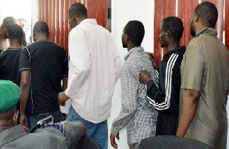 Some of the suspected pipeline vandals paraded by police at the Force Headquarters, Abuja, yesterday. NAN PHOTO.