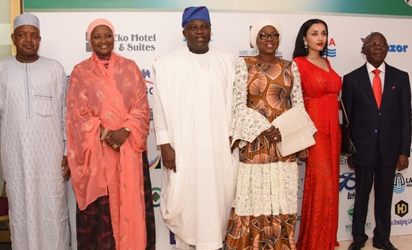 Lagos State Governor, Mr. Akinwunmi Ambode (3rd left); his wife & Chairman, Committee of Wives of Lagos State Officials (COWLSO), Bolanle (3rd right); Edo State Governor,  Comrade Adams Oshiomhole (right); his wife , Iara (2nd right); Kebbi State Governor, Alhaji Atiku Bagudu (left) and his wife; Dr. Zainab(2nd left) during the closing ceremony of the 16th Annual National Women Conference organized by COWLSO, at the Convention Centre, Eko Hotel & Suites on Wednesday, October 26, 2016