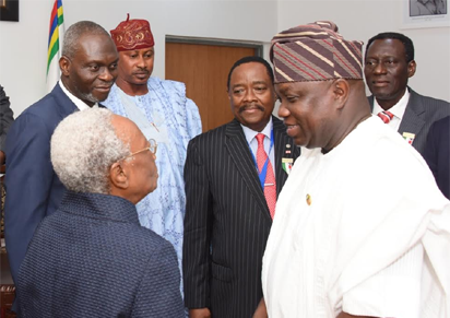 Lagos State Governor, Mr. Akinwunmi Ambode, with Patron, Nigerian-British Chamber of Commerce, Chief Micheal Olawale-Cole; Council member, Aare Kamarudeen Danjuma; President of the Chamber, Prince Dapo Adelegan and Mrs. Magaret Adeleke during a courtesy visit to the Governor, at the Lagos House, Ikeja, on Tuesday.