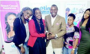 CANCER AWARENESS: Members of the Go Pink Ball Cancer Awareness team during an awareness creation event in Lagos recently.