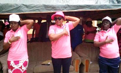 CANCER AWARENESS - (Centre): Wife of the Benue State Governor, Dr Eunice Ortom, demonstrating the procedure of Breast Self Examination, BSE, to women in Gungul last week.