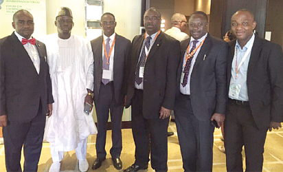Fowler at the  4th General Assembly of ATAF, last week. To his right are Abiodun Aina, Special Advisor to the Executive Chairman, FIRS, Dr Ahmed Idris, Assistant Director, and  Alhaji Sani DAMBO, the Executive Chairman, Kano State Internal Revenue Service. At the extreme right is Mr. Babatunde Oladapo, Executive Secretary, West African Tax Administration Forum, while Femi Edgal, Special Assistant to  Fowler, is to the FIRS Chairman's left.