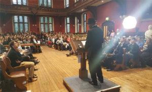 Former President Jonathan giving his speech at Oxford