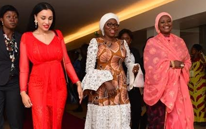Wife of Lagos State Governor & Chairman, Committee of Wives of Lagos State Officials (COWLSO), Mrs. Bolanle Ambode (middle), with Mrs. Iara Oshiomhole (left) and Dr. Zainab Bagudu (right) during the closing ceremony of the 16th Annual National Women Conference organized by COWLSO, at the Convention Centre, Eko Hotel & Suites on Wednesday.