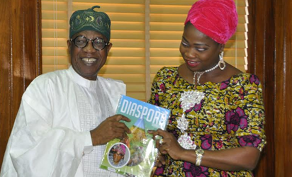 Senior Special Assistant to the President on Foreign Affairs and Diaspora, Mrs. Abike Dabiri-Erewa, presenting a souvenir to the Minister of Information and Culture, Alhaji Lai Mohammed when she paid a courtesy visit to the minister's office in Abuja on Tuesday.
