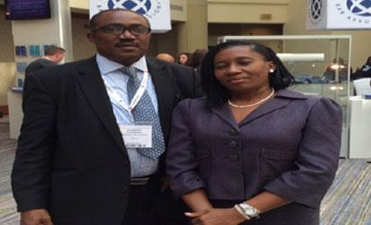 Deputy Director General, Nigerian Law School, Enugu Campus, Mr Bob Osamor and his wife, Mrs Chinelo, at the IBA in Washington DC.