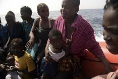 Some of the African migrants saved off Italy on Tuesday. AFP Photo
